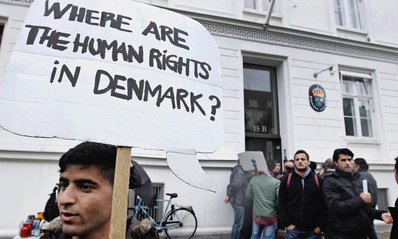 Syria refugees in a protest against the negative asylum decisions front of the Swidish Embassy in Denmark- 2012 (AP Photo by Jens Dresling)