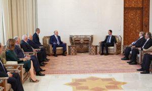 Head of the Syrian regime, Bashar al-Assad, receives Abkhazian delegation in Damascus (SANA)