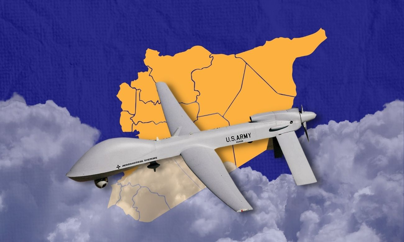 A photo of an unmanned aerial vehicle (Edited by Enab Baladi)