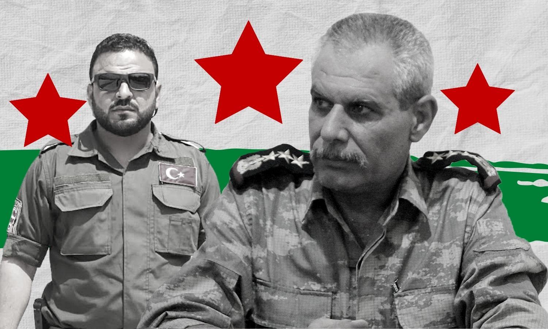 Syrian defector Brigadier General Ahmad Rahal and SNA commander Muhammad al-Jasim, known as Abu Amsha (Enab Baladi)