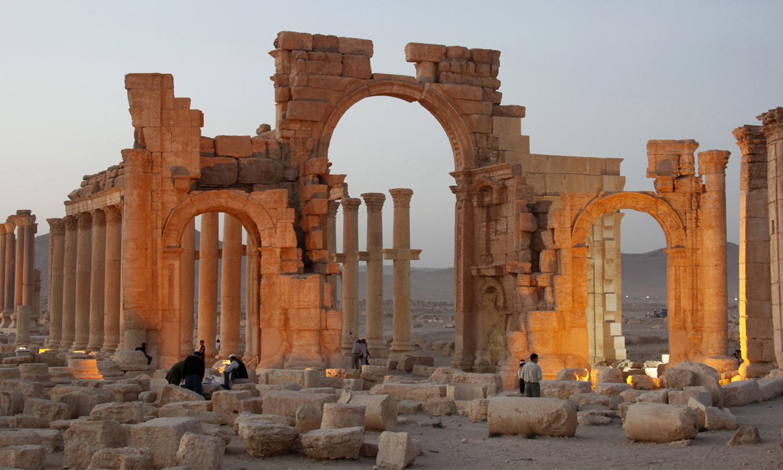 The Arch of Triumph in Palmyra, Syria.
