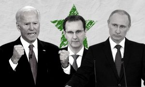 Russian President Vladimir Putin, the head of the Syrian regime Bashar al-Assad, and United States President Joe Biden (edited by Enab Baladi)