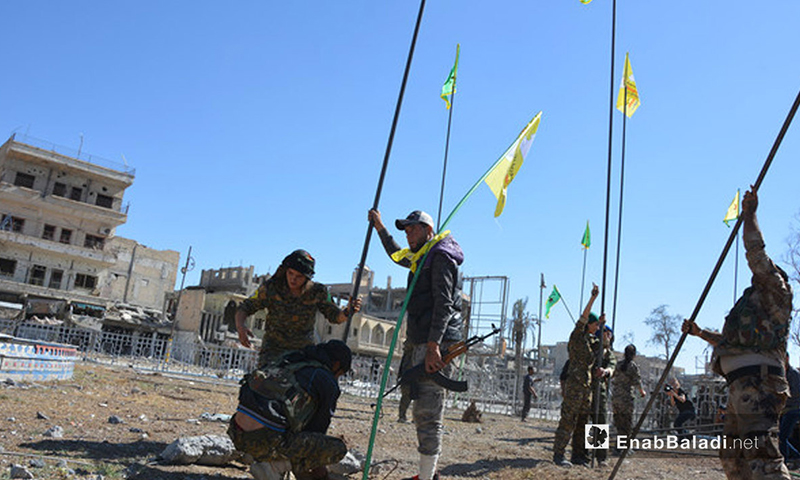 SDF fighters in the city of Raqqa, north of Syria- 19 October 2017 (Enab Baladi)