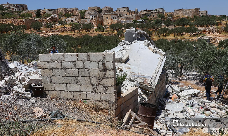 Sarjeh village was targeted by Krasnopol laser-guided artillery shells in the Jabal al-Zawiya region, southern Idlib - 17 July 2021 (Enab Baladi / Anas al-Khouli)
