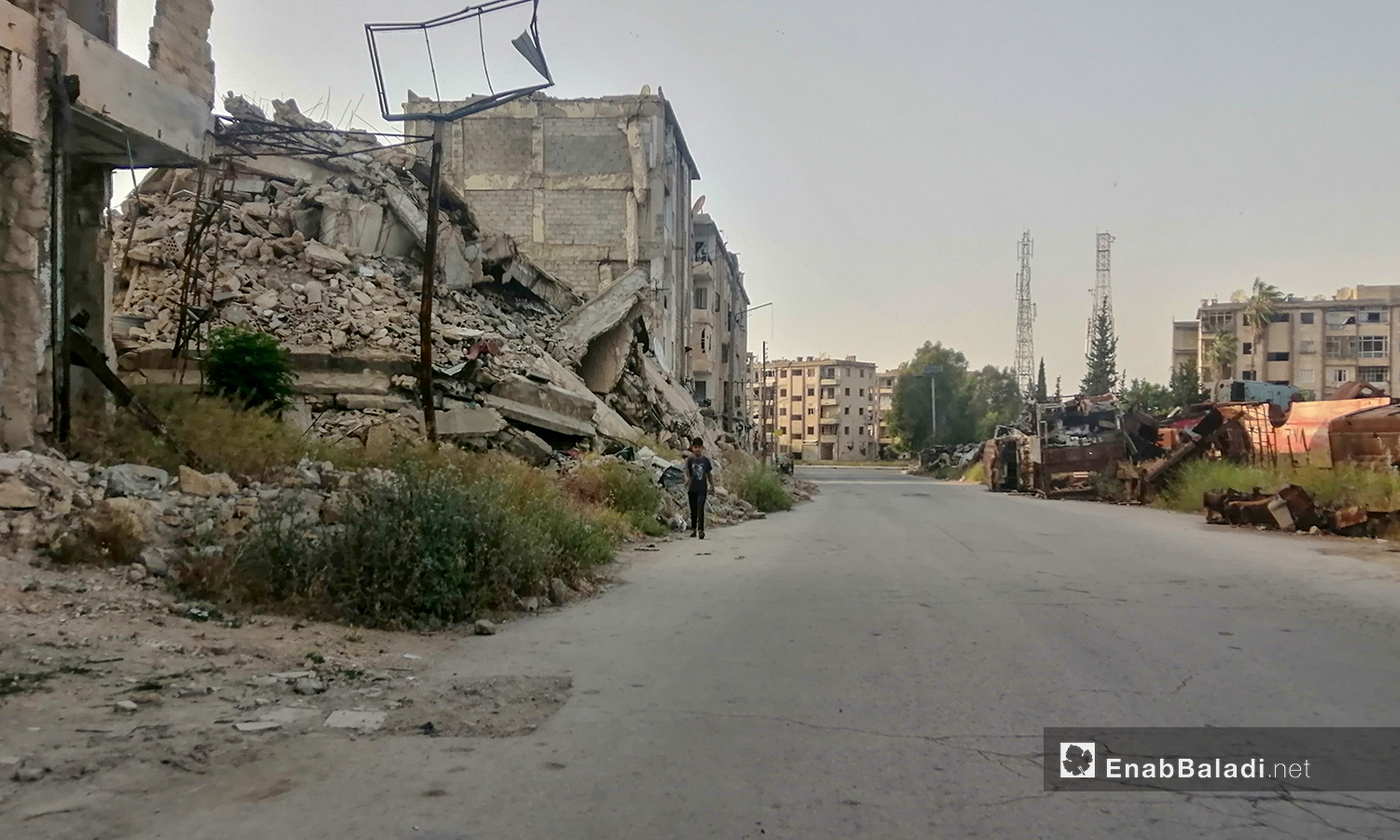 Destruction caused by Syrian regime airstrikes in eastern Aleppo, before it entirely controlled the area – 19 April 2021 (Saber al-Halabi/Enab Baladi)