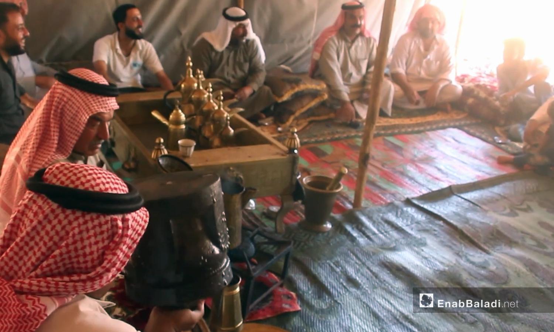 An Arabic Majlis sitting place in Idlib, northern Syria - 01 October 2020 (Enab Baladi)
