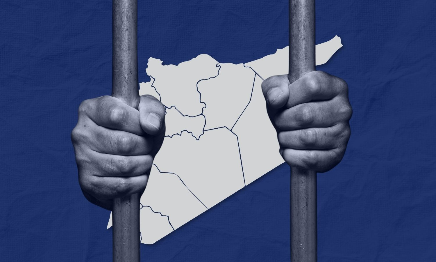 Hands holding prison bars with a map of Syria in the background (edited by Enab Baladi)
