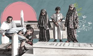 People visiting the grave of their family member (Edited by Enab Baladi)