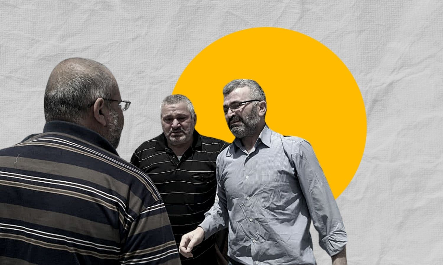 Men crying upon reuniting with a relative released from the regime's detention facility in Duma — 3 July 2021 (Edited by Enab Baladi)