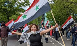 A rally held in the German capital Berlin, expressing support for the head of the Syrian regime, Bashar al-Assad — 20 May 2021 (Kevork Almassian/Facebook)