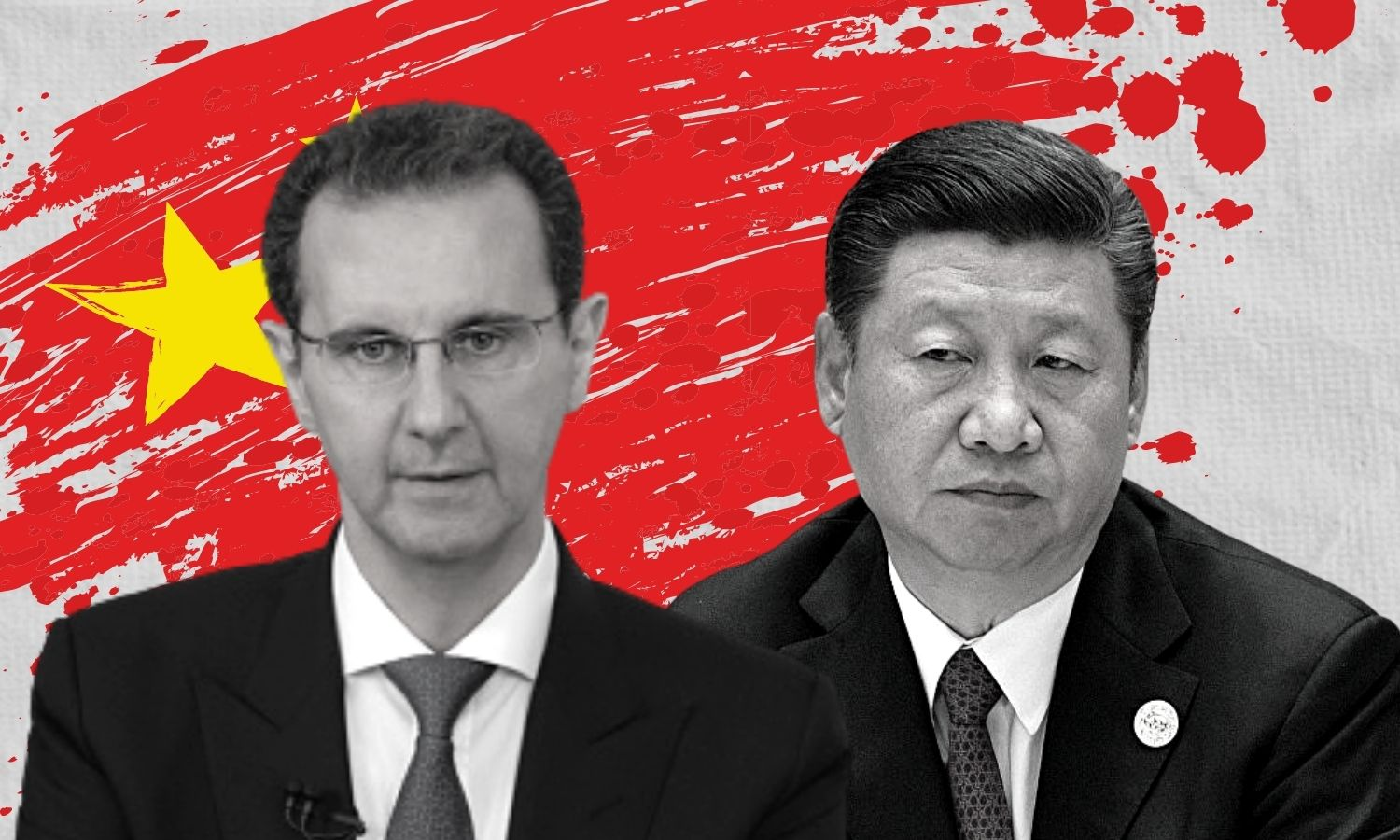Chinese President Xi Jinping and the head of the Syrian regime Bashar al-Assad (edited by Enab Baladi)