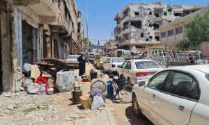 A Syrian family packing what was left of their belongings in preparation for displacement outside the city of Daraa- 3 August 2021 (Nabaa Agency)