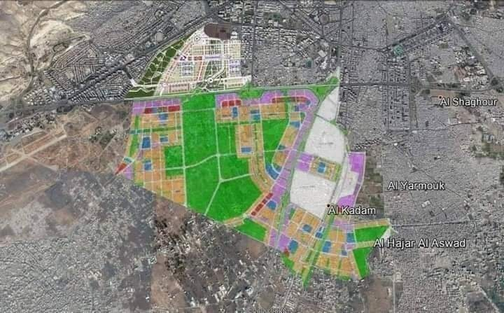 An image of the second development area's (the Basilia City project) zoning plan under Legislative Decree No. 66 of 2012 - July 2018 (Damascus governorate Facebook account)