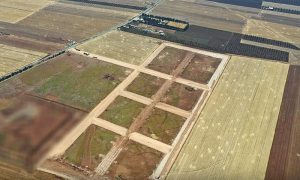 An aerial image showing streets being prepared in the industrial zone to the east of Azaz city in Aleppo's northwestern countryside - 4 July 2021 (Azaz local council)