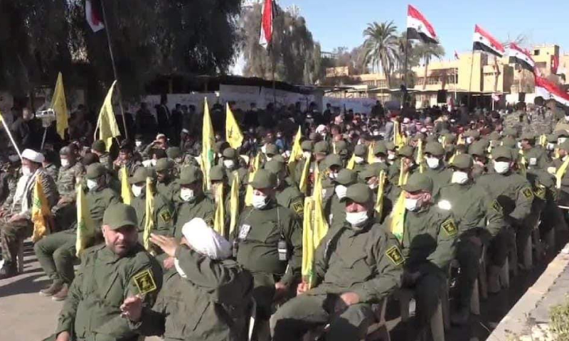 Iranian militia elements in al-Bukamal city to the east of Deir Ezzor attending a commemoration of the anniversary of the killing of Qasem Soleimani, a former prominent military commander in the IRGC - 31 December 2020 (Naher Media)