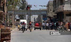 The al-Saraya roadblock that Syrian regime forces closed in Daraa al-Balad city, southern Syria - 31 May 2021 (Enab Baladi / Halim Mohammed)