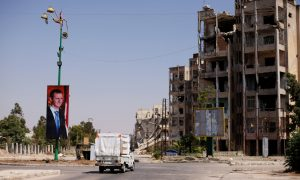 Demolished buildings in the city of Homs (Reuters)
