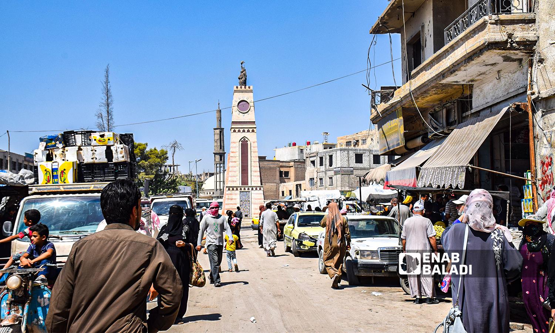 Quwatli Street and Raqqa's clock tower- 23 August 2021(Enab Baladi/Hussam al-Omar)