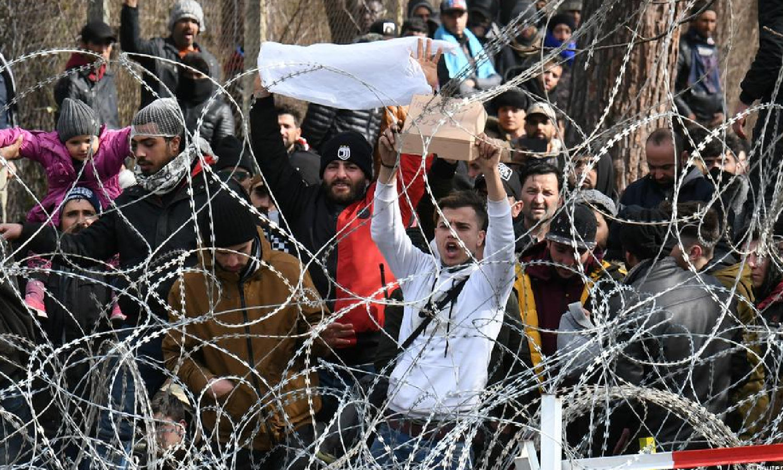 Asylum seekers at the Turkish-Greek border (Reuters)