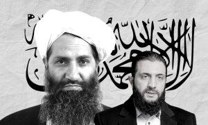 Taliban's leader Hibatullah Akhundzada and Hayat Tahrir al-Sham's leader Abu Mohammed al-Golani (edited by Enab Baladi)