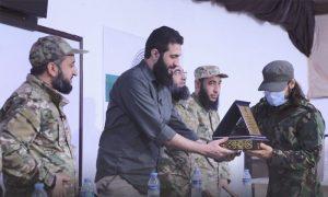 Abu Mohammed al-Golani attending the graduation ceremony of future field leaders - 10 August 2021 (Amjad Media)