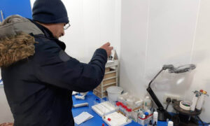A man in a medical laboratory in al-Hasakah governorate in northeastern Syria - 14 January 2020 (SDF)